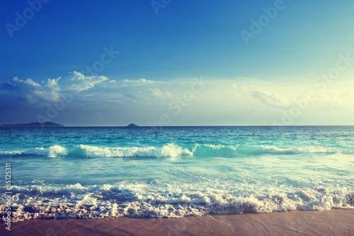 Fototapeta Seychely pláž v době západu slunce