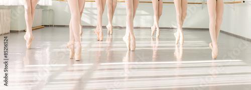 Photo legs of dancers ballerinas in class classical dance, ballet