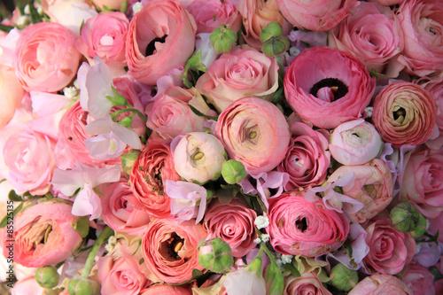 Wallpaper Mural Pink roses and ranunculus bridal bouquet