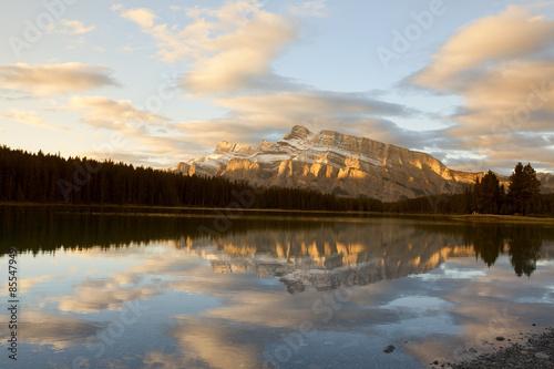 Canvas Print alpenglow by two jack lake
