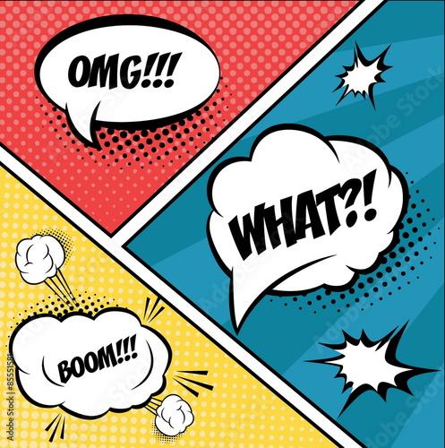 Zestaw komiksów pęcherzyków i elementów w pop artu, z półtonami sha