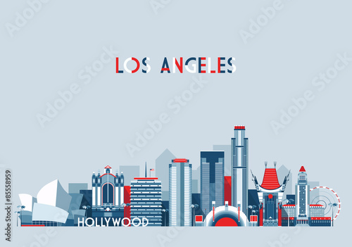 Fototapeta Los Angeles United States city skyline vector background Flat trendy illustratio