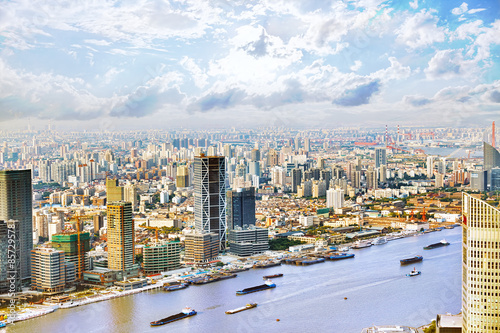 Panorama view on skyscrapers, waterfront , city building of Shan