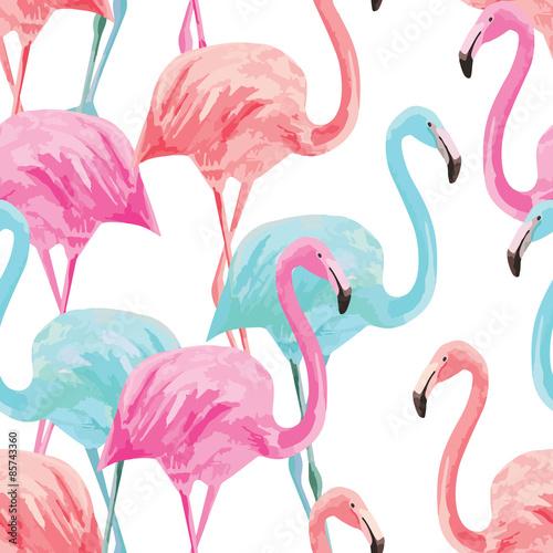 Valokuvatapetti flamingo watercolor pattern