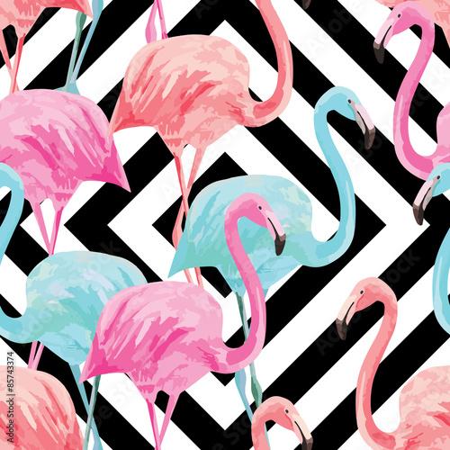 flamingo watercolor pattern, geometric background