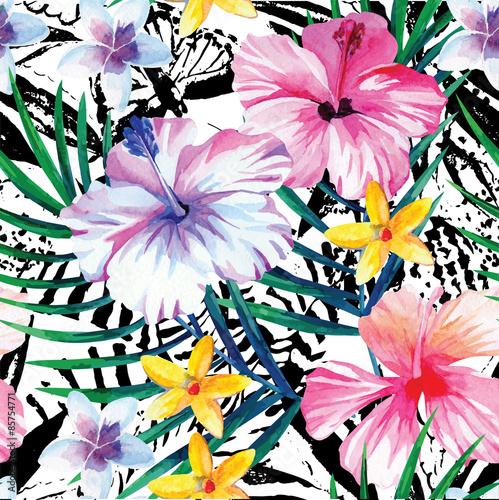 Fototapeta Egzotyczny tropikalny kwiatowy wzór akwarela na białym tle ścienna