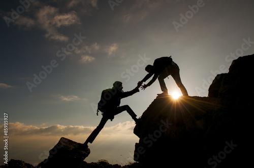 Canvas Print dağcı birlik ve beraberlik ruhu&tırmanış başarısı