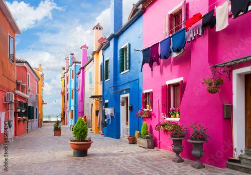 Fototapeta Ulica na wyspie Burano, Wenecja, Włochy na wymiar