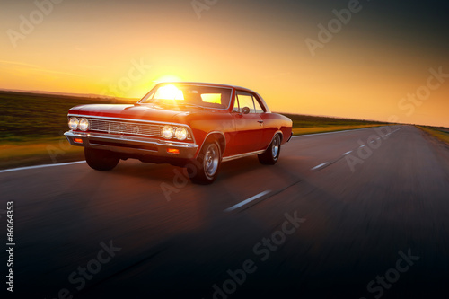 Retro car speed drive on road