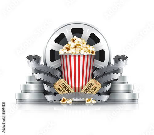 Popcorn film-strips and disks with cinema tickets to movie