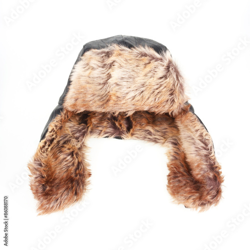 Leinwand Poster hat with ear-flaps isolated on white