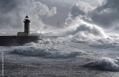 Canvas Print Storm waves over the Lighthouse, Portugal - enhanced sky