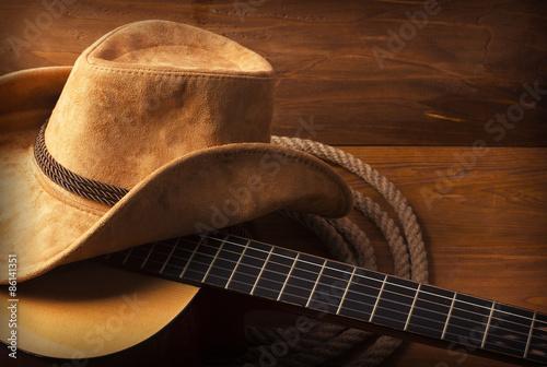 Obraz na plátne Country music background with guitar
