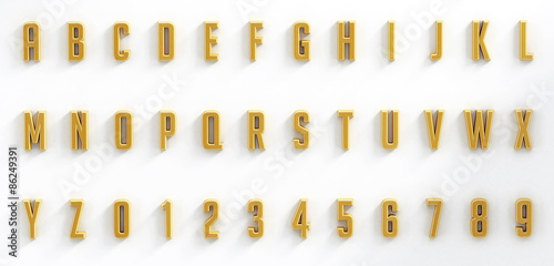 Stampa su Tela Hanging black letters and numbers isolated on white background