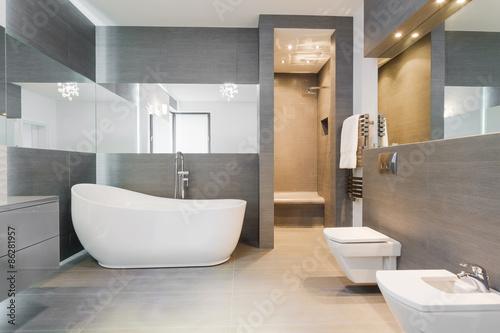 Leinwand Poster Freistehende Badewanne im modernen Badezimmer