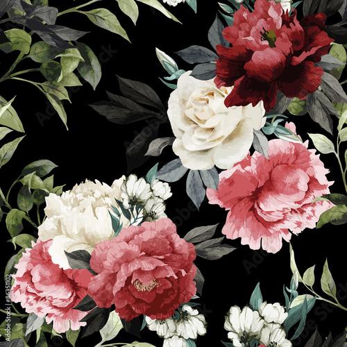 Tapeta z ciemnym wzorem w kwiaty