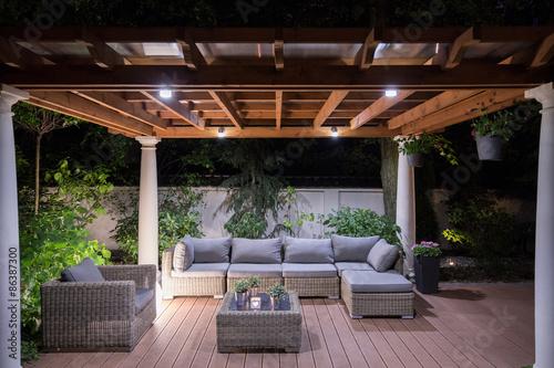 Obraz na plátne Arbour with comfortable garden furniture