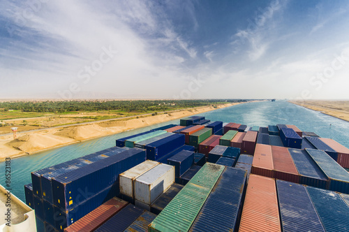 Large Container Ship passing Suez Canal Egypt