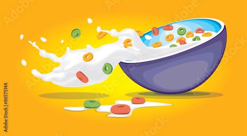 Fényképezés Cereal Bowl with splash milk and cereals vector