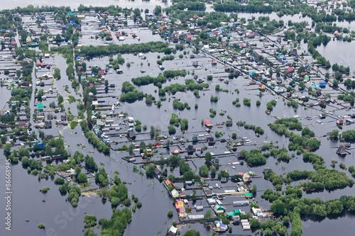 Fotografia, Obraz Flooded village in lowland of Great river