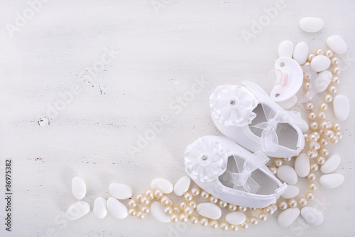 Photographie Baby shower neutral white background.