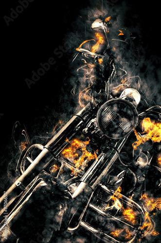 Burning motorbike. Fire illustration.