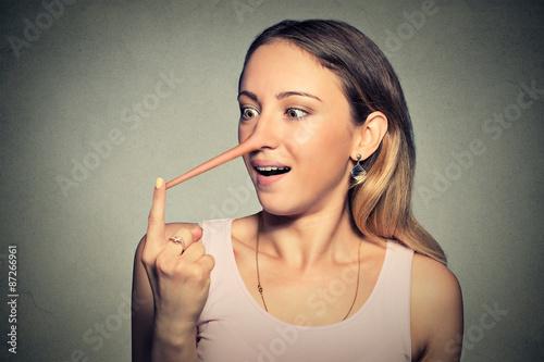 Carta da parati Woman with long nose. Liar concept.