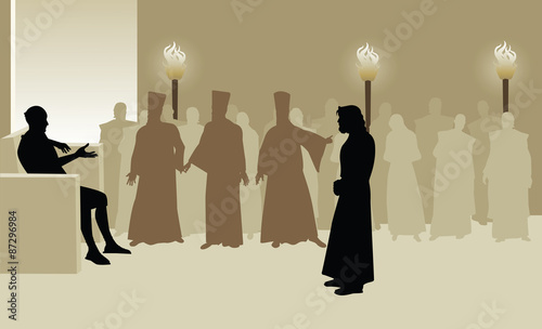 Fotografie, Obraz Jesus Faces Pontius Pilate accused by the Sanhedrin as they Standby