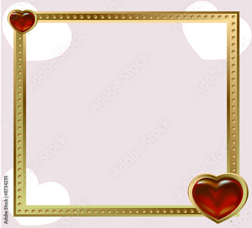 Photo gold frame jewelry red hearts