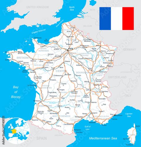 Fotografia France map, flag, roads