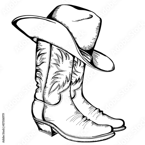 Tela Cowboy boots and hat.Vector graphic illustration isolated