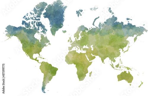 Leinwand Poster Cartina mondo, disegnata illustrata pennellate