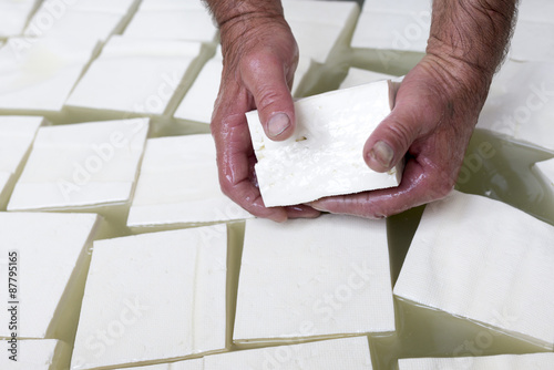 Feta cheese production cubes