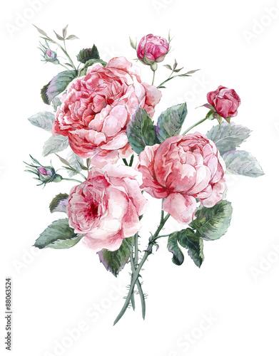 Fototapeta Wzór stylizowany na rysunek akwarelą bukietu z róż
