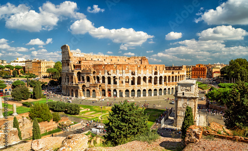 Leinwand Poster Panorama of Colosseum (Coliseum), Rome, Italy