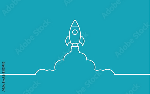 Fotografia rocket and cloud flat style isolated
