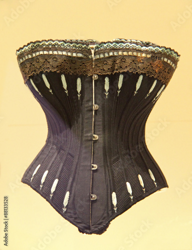 Canvas A Black Embroided Vintage Ladies Support Corset.