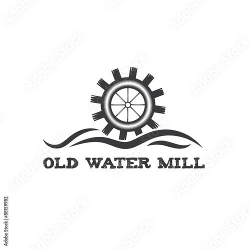 Stampa su Tela old water mill vintage illustration