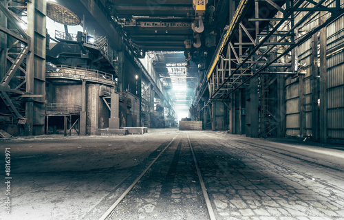 Abandoned factory: A factory that been shut down for many years.