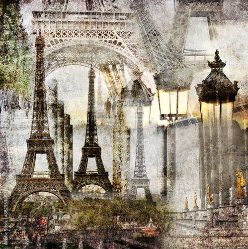 Dreams of Paris / Textured grunge paper background with Paris Eiffel Tower different profiles architecture vintage style