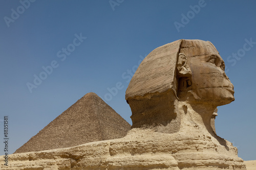 The Sphinx and the Great Pyramid in Giza, near Cairo, Egypt #88351581