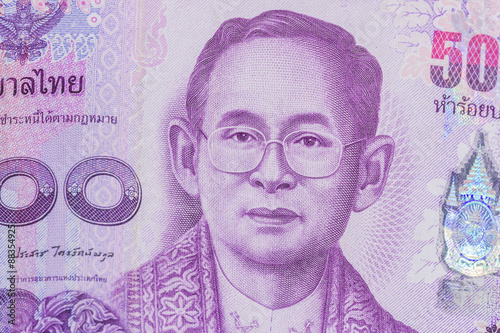 Close up of thailand currency, thai baht with the images of Thailand King Fototapeta