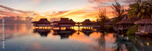 Obraz na płótnie Panorama zachodu słońca na Bora Bora
