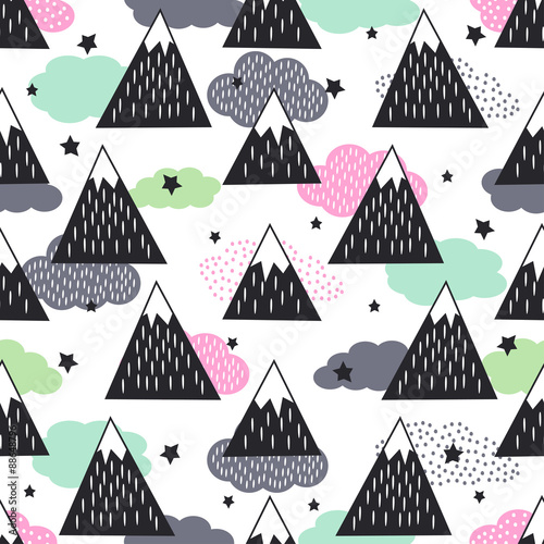 Seamless pattern with geometric snowy mountains, clouds and stars. Graphic nature illustration. Abstract mountains background.