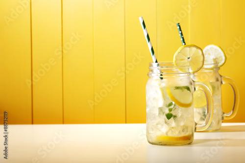 Fotografie, Tablou Homemade lemonade in mason jars