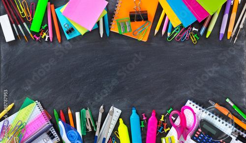 School and office supplies double border on blackboard  #88787953