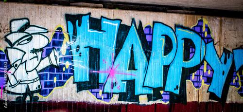 Fototapeta premium Graffiti: Szczęśliwy