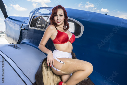 Fotografia Sexy, beautiful woman with pinup style of the Second World War,