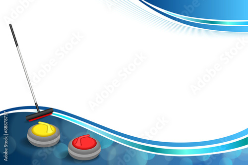 Valokuva Background abstract curling sport blue ice red yellow stone broom frame illustra