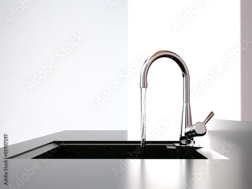Fotografie, Obraz water flows from the kitchen tap to black kitchen sink